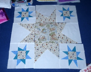 Pooh Wonky Star Quilt Progress